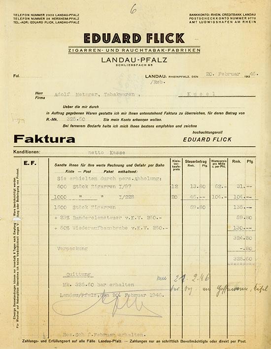 Eduard Flick Zigarren- und Rauchtabak-Fabriken Landau-Pfalz [2 Stück]
