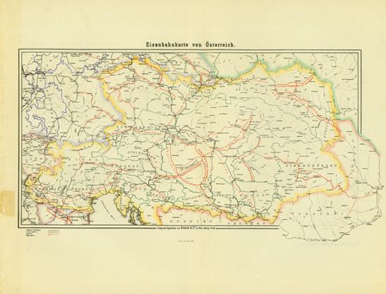 Eisenbahnkarte von Österreich im Jahre 1855