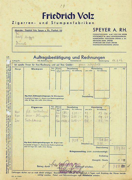 Friedrich Volz Zigarren- und Stumpenfabriken
