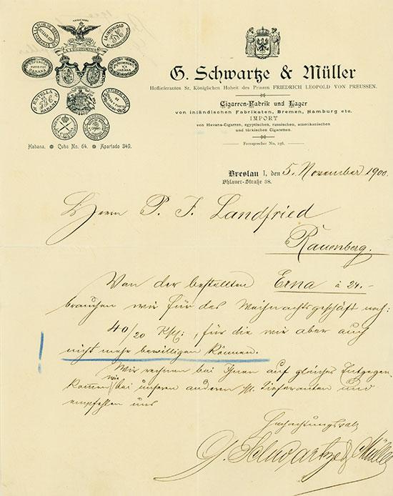 G. Schwartze & Müller - Cigarren-Fabrik und Lager von inländischen Fabrikaten, Bremen, Hamburg etc. IMPORT