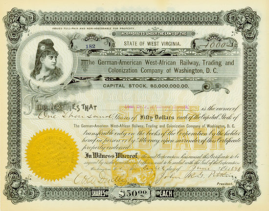 German-American West-African Railway, Trading and Colonization Company of Washington, D. C.