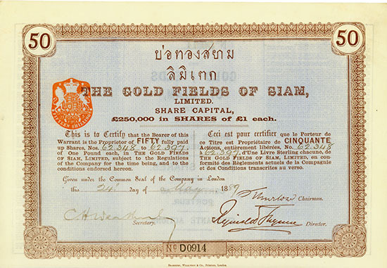 Gold Fields of Siam, Limited