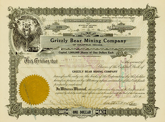 Grizzly Bear Mining Company of Goldfield, Nevada