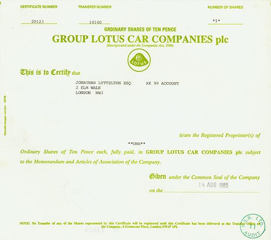 Group Lotus Car Companies plc