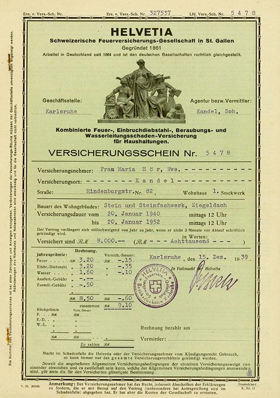 Helvetia Schweizerische Feuerversicherungs-Gesellschaft in St. Gallen