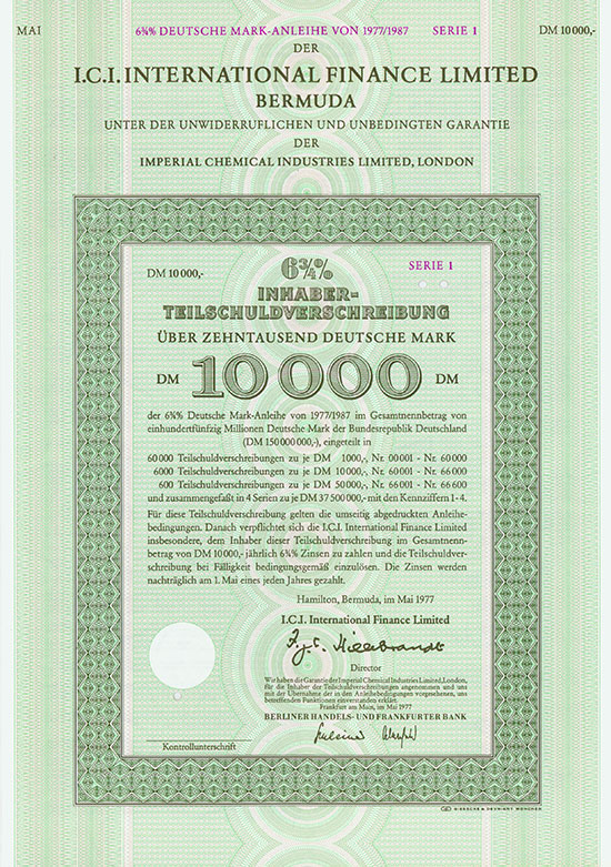 I.C.I. International Finance Limited Bermuda