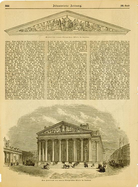 Illustrierte Zeitung - Der Porticus der neuen Königlichen Börse in London