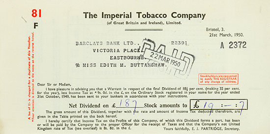 Imperial Tobacco Company (of Great Britain and Ireland), Limited