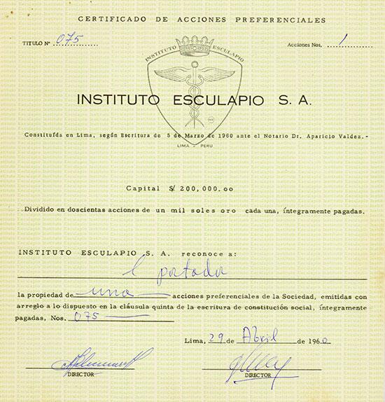 Instituto Esculapio S. A.