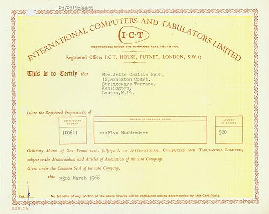 International Computers and Tabulators Limited