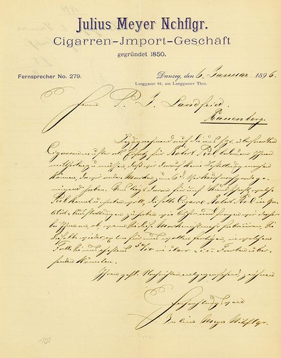 Julius Meyer Nchflgr., Cigarren-Import-Geschäft