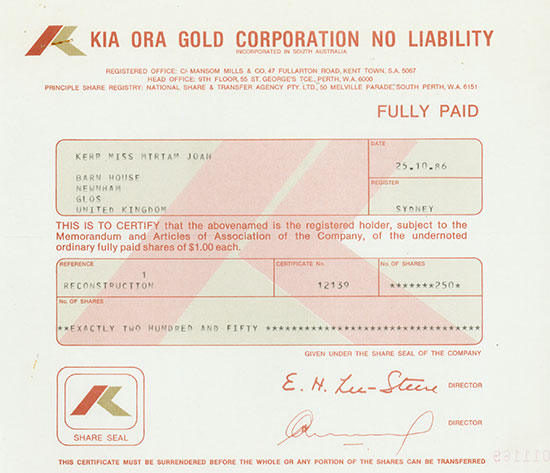 Kia Ora Gold Corporation No Liability
