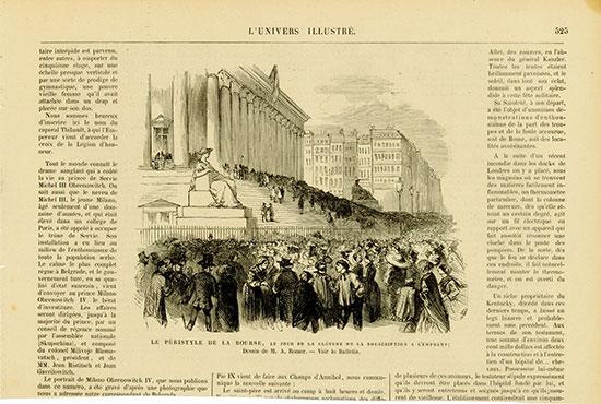 Le Péristyle de la Bourse, le Jour de la Glôture de la Souscription a L'Emprunt; Dessin de M. A. Romer - Voir la Bulletin