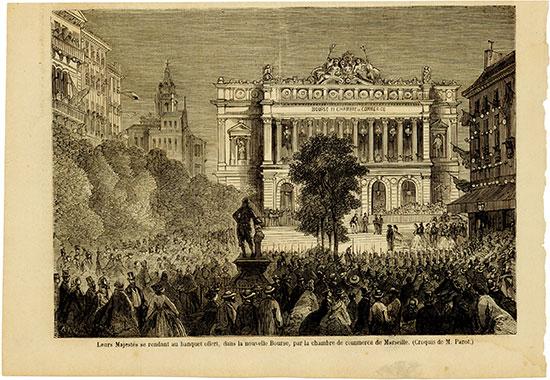 Leurs Majestés se rendant au banquet offert, dans la nouvelle Bourse, par la chambre de commerce de Marseille. (Croquis de M. Parot.)