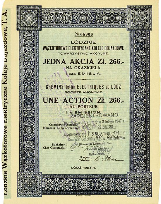 Łódzkie Wązkotorowe Elektryczne Koleje Dojazdowe Towarzystwo Akcyjne / Chemins de fer Électriques de Lodz S.A.