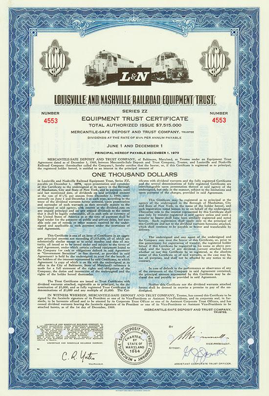 Louisville and Nashville Railroad Equipment Trust [3 Stück]