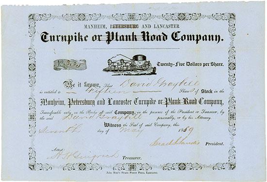 Manheim, (Petersburg) & Lancaster Turnpike or (Plank Road) Company