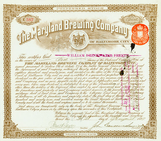 Maryland Brewing Company of Baltimore City