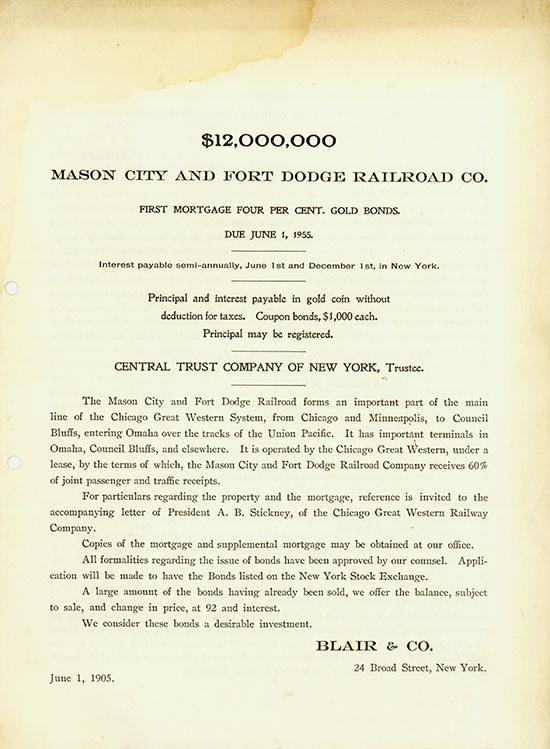 Mason City and Fort Dodge Railroad Co.