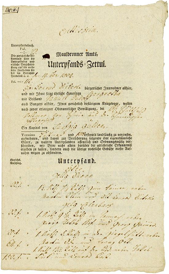 Maulbronner Amts, Unterpfands-Zettul