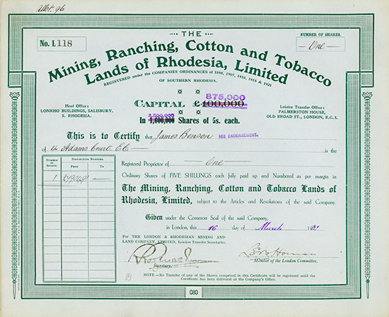 Mining, Ranching, Cotton and Tobacco Lands of Rhodesia, Limited [2 Stück]