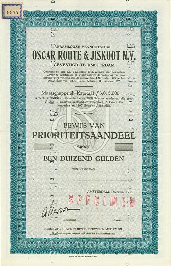 Naamlooze Vennootschap Oscar Rohte & Jiskoot N.V.