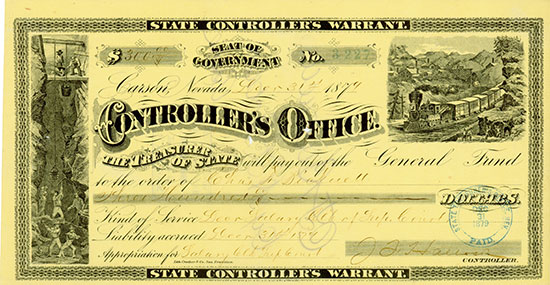 Nevada, State Controller's Warrant
