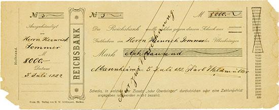 Reichsbank - Scheck für Heinrich Sommer