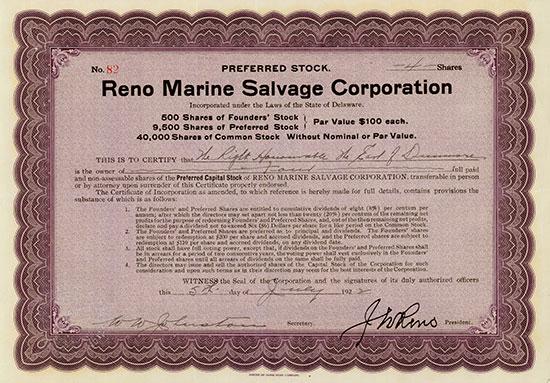Reno Marine Salvage Corporation