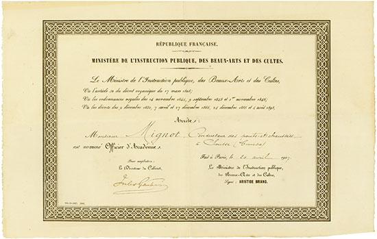 République Française - Ministère de l'Instruction Publique, des Beaux-Arts et des Cultes