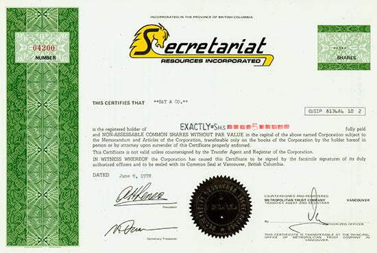 Secretariat Resources Incorporated