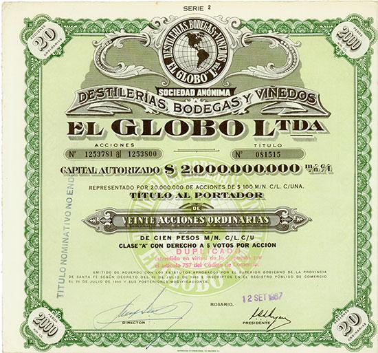 Sociedad Anónima Destilerias, Bodegas y Viñedos el Globol Ltda.