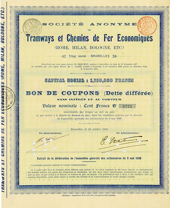 Société Anonyme de Tramways et Chemins de fer Economiques (Rome, Milan, Bologne, etc.)