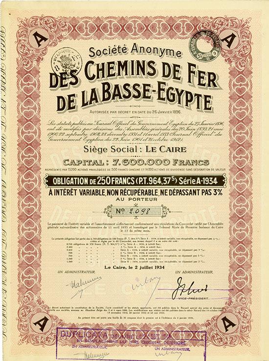 Société Anonyme des Chemins de Fer de la Basse-Egypte