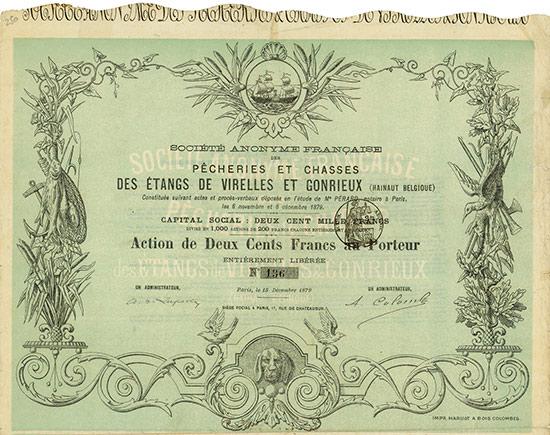 Société Anonyme Francaise des Pecheries et Chasses des Étangs de Virelles et Gonrieux (Hainaut Belgique)