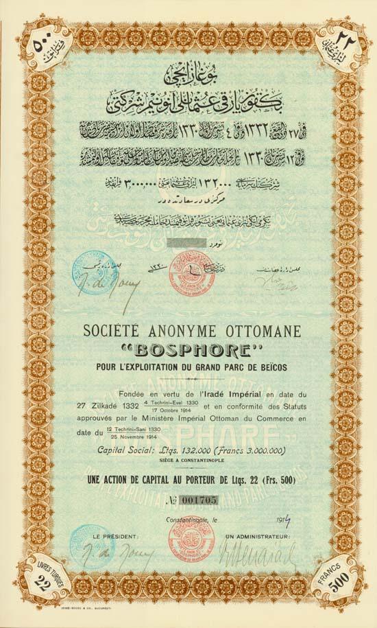 """Société Anonyme Ottomane """"Bosphore"""" pour L'Exploitation du Grand Parc de Beicos"""