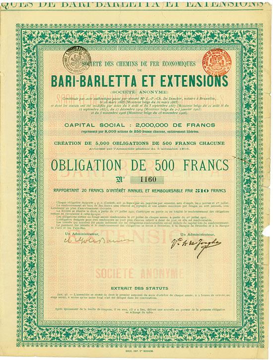 Société des Chemins de Fer Èconomiques de Bari-Barletta et Extensions Société Anonyme