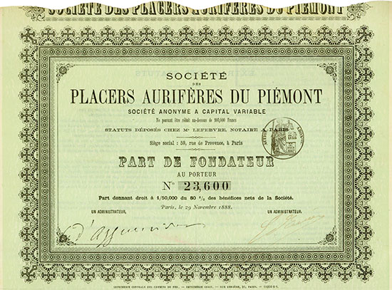 Société des Placers Aurifères du Piémont