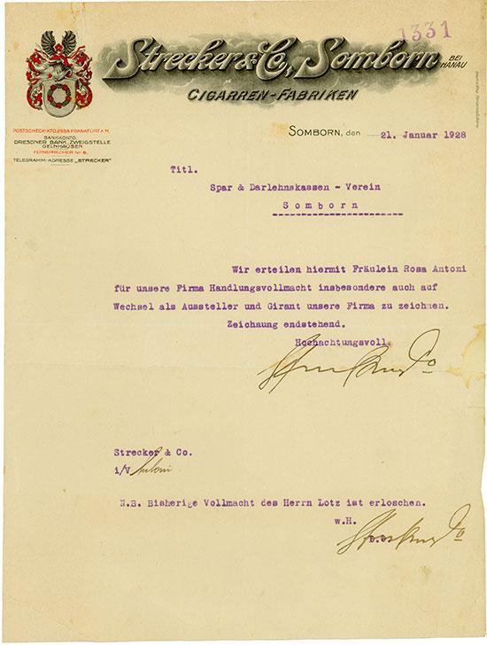 Strecker & Co. Somborn bei Hanau Cigarren-Fabriken / Somborner Spar- und Darlehnskassen-Verein [2 Stück]
