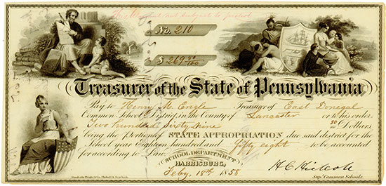 Treasurer of the State of Pennsylvania - School Department Harrisburg