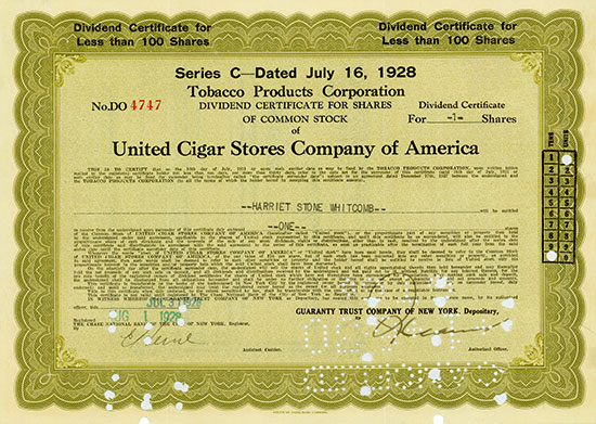 Tobacco Products Corporation (United Cigar Stores Company of America)