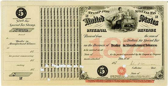 United States Internal Revenue - Business of Dealer in Manufactured Tobacco [8 Stück]