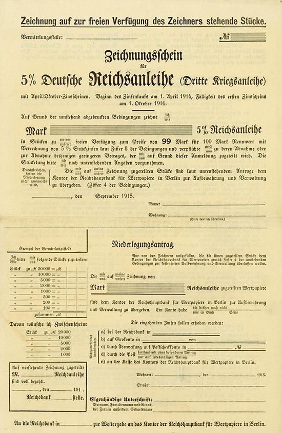 Zeichnungsschein für 5% Deutsche Reichsanleihe (Dritte Kriegsanleihe)