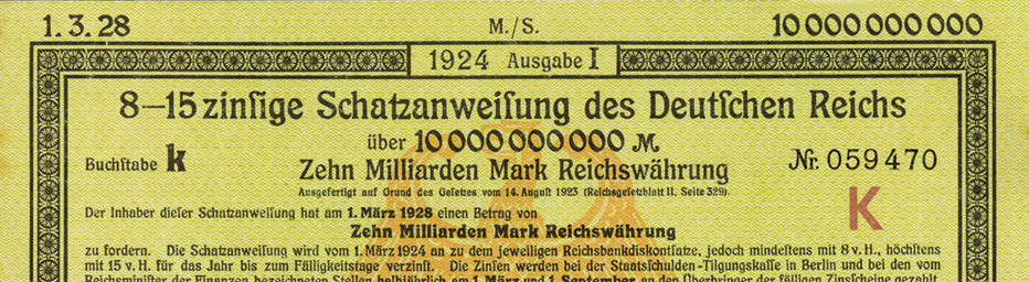 Treasury note Deutsches Reich (Snippet)