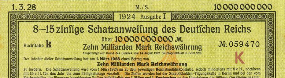 Schatzanweisung Deutsches Reich (Ausschnitt)