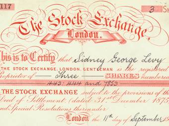 Share Certificate of Stock Exchange London (Snippet)
