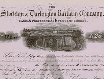 Aktie der Stockton & Darlington Railway Company (Ausschnitt)
